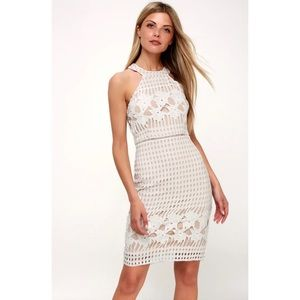 Lulus Luxe Love White and Nude Lace Dress Small